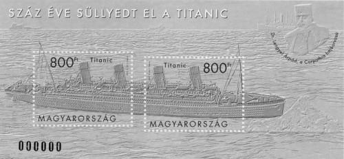 2012 100 ÉVE SÜLLYEDT EL A TITANIC - FEKETENYOMAT - BÉLYEGBLOKK